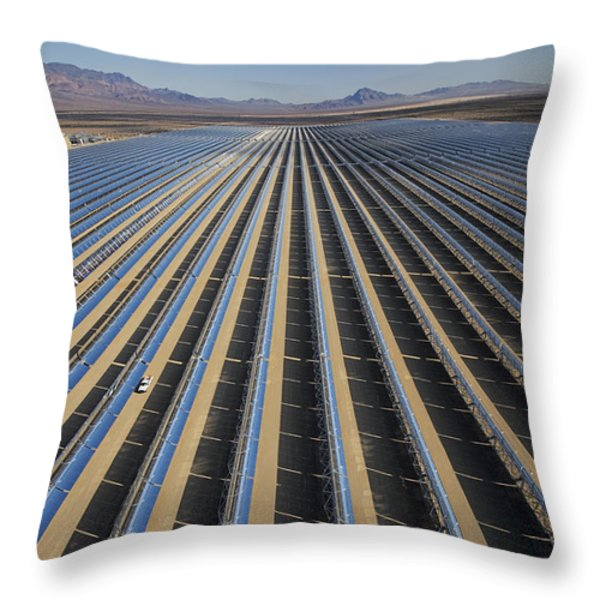 Oil Piped Down Long Rows Of Reflectors Throw Pillow by Michael Melford