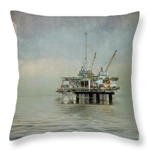 Oil Platform Under the Moon Textured Throw Pillow by Susan Gary