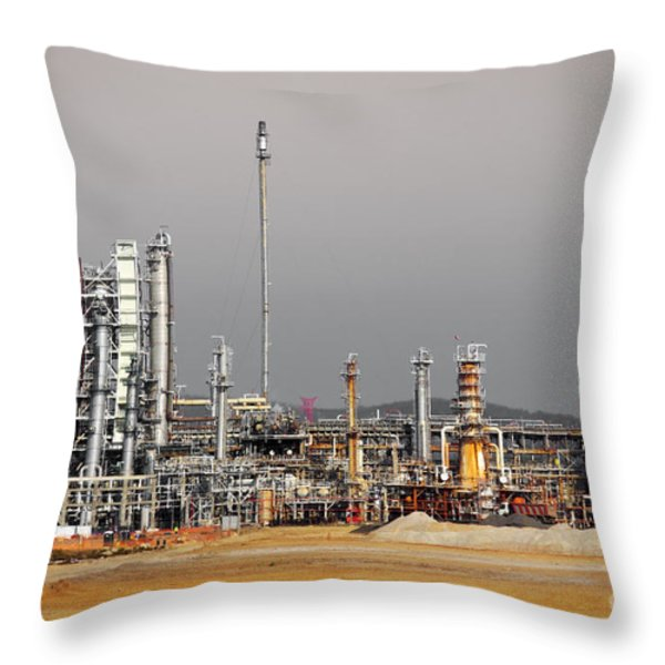 Oil Refinery Throw Pillow by Carlos Caetano