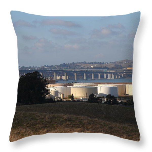 Oil Refinery Industrial Plant And Martinez Benicia Bridge In Martinez California . 7d10388 Throw Pillow by Wingsdomain Art and Photography