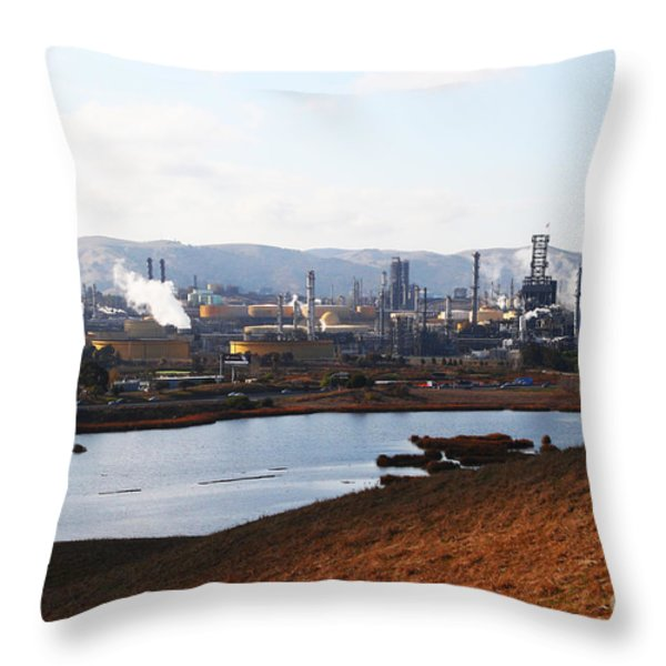 Oil Refinery Industrial Plant In Martinez California . 7d10393 Throw Pillow by Wingsdomain Art and Photography