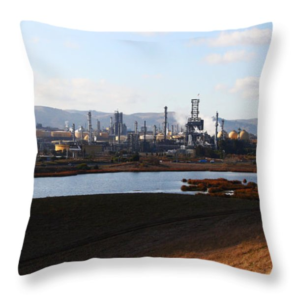 Oil Refinery Industrial Plant In Martinez California . 7d10398 Throw Pillow by Wingsdomain Art and Photography