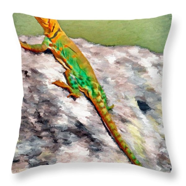 Oklahoma Collared Lizard Throw Pillow by Jeff Kolker