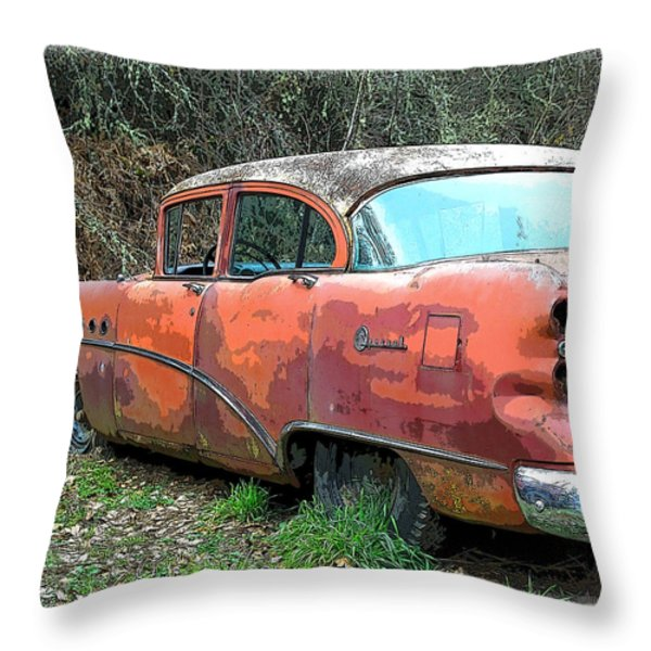 Old 50's Buick Throw Pillow by Steve McKinzie