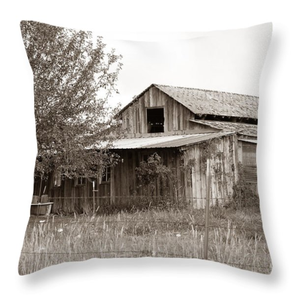 Old Barn In Sepia  Throw Pillow by Connie Fox