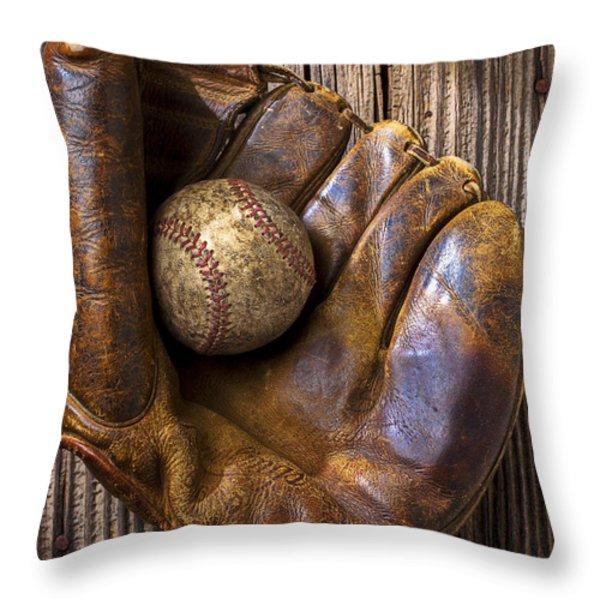Old baseball mitt and ball Throw Pillow by Garry Gay