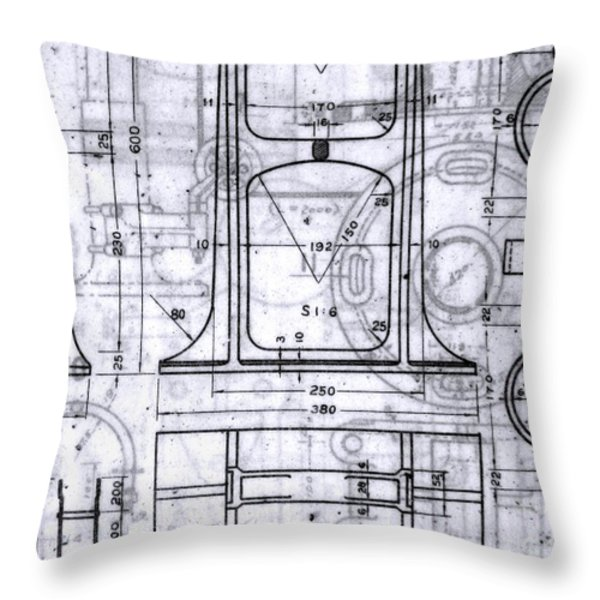 Old Blueprints Throw Pillow by Yali Shi