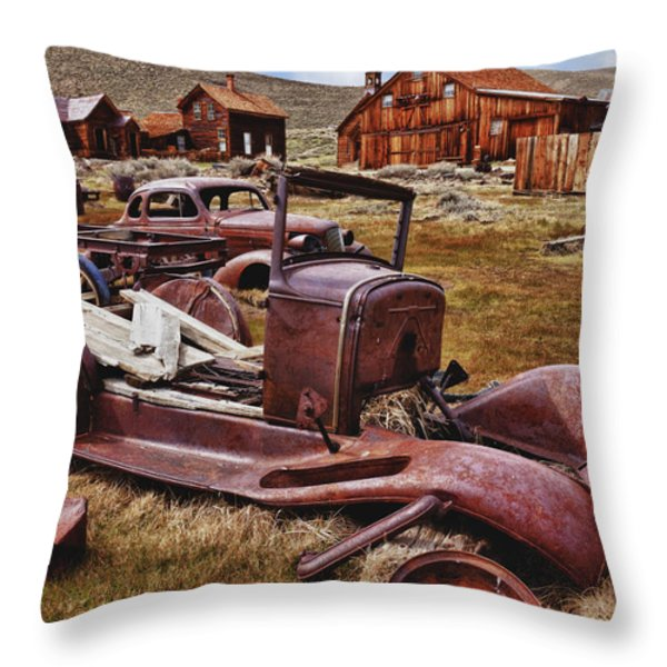 Old Cars Bodie Throw Pillow by Garry Gay