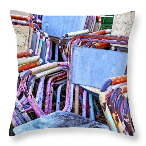 Old Chairs Throw Pillow by Joana Kruse