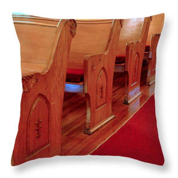 Old Church Pews Throw Pillow by LeeAnn McLaneGoetz McLaneGoetzStudioLLCcom