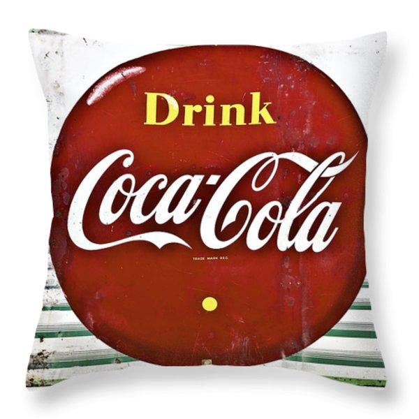 Old Coke Sign Throw Pillow by Susan Leggett