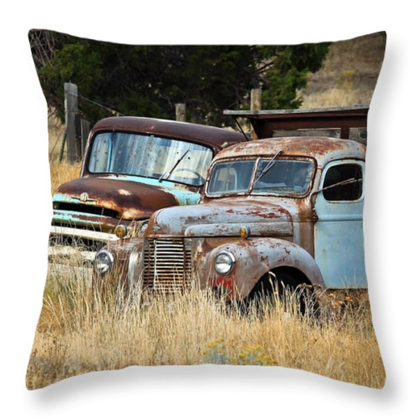 Old Farm Trucks Throw Pillow by Steve McKinzie