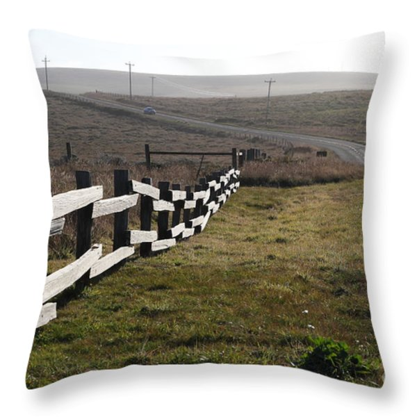 Old Fence And Landscape Along Sir Francis Drake Boulevard At Point Reyes California . 7D9897 Throw Pillow by Wingsdomain Art and Photography