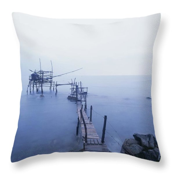 Old Fishing Platform At Dusk Throw Pillow by Axiom Photographic