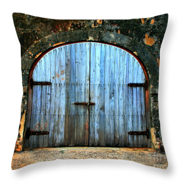 Old Fort Doors Throw Pillow by Perry Webster