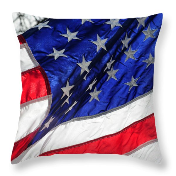 Old Glory Still Waves Throw Pillow by Wanda Brandon