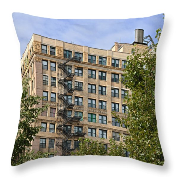 Old iron fire escape Chicago IL Throw Pillow by Christine Till