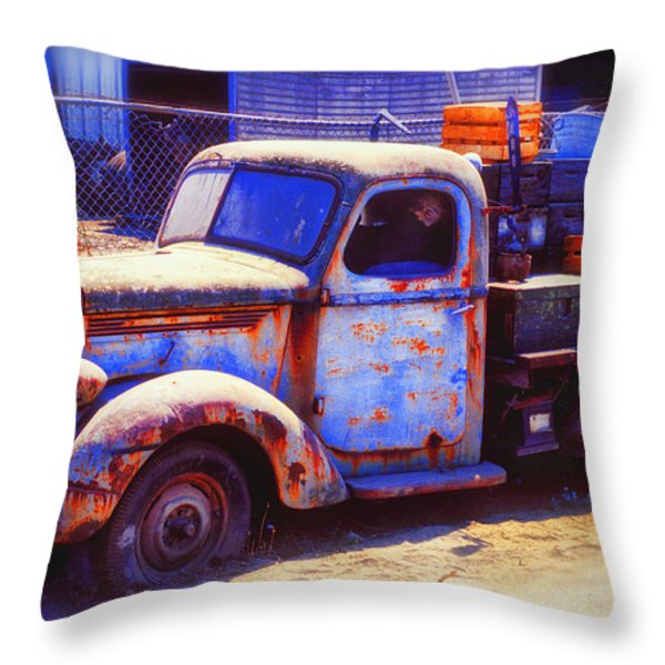 Old junk truck Throw Pillow by Garry Gay