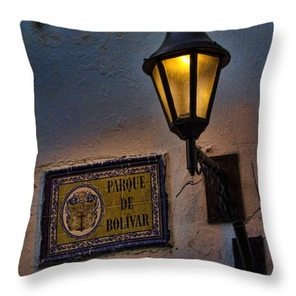 Old lamp on a colonial building in old Cartagena Colombia Throw Pillow by David Smith