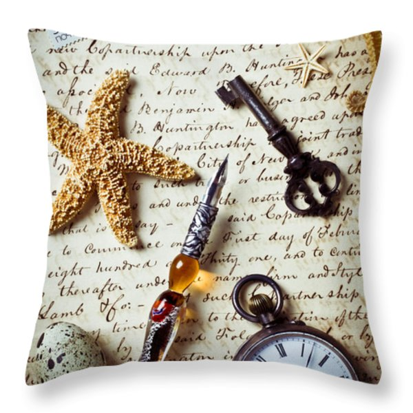 Old letter with pen and starfish Throw Pillow by Garry Gay