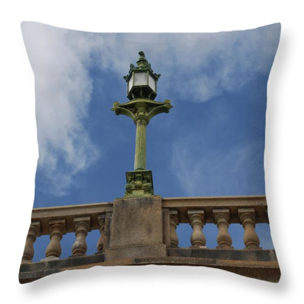 Old London Bridge - Az Throw Pillow by Carol  Eliassen