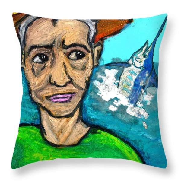 Old Man And The Sea Throw Pillow by William Depaula