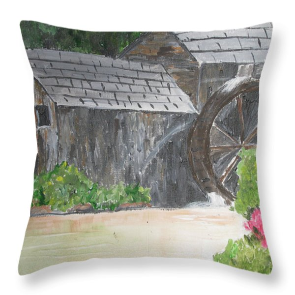 Old Mill Throw Pillow by Dawn Dreibus