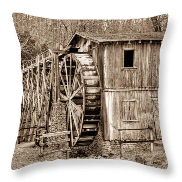 Old Mill in Sepia Throw Pillow by Douglas Barnett