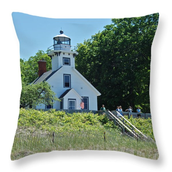 Old Mission Point Lighthouse 5306 Throw Pillow by Michael Peychich