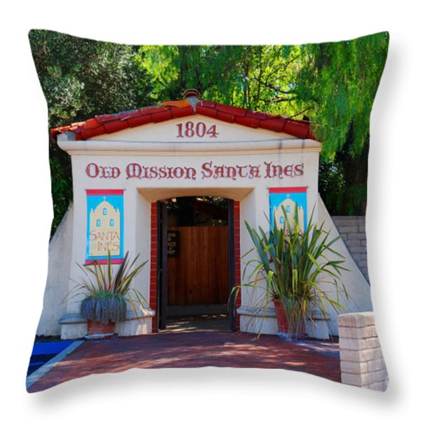 Old Mission Santa Ines Solvang California Throw Pillow by Susanne Van Hulst