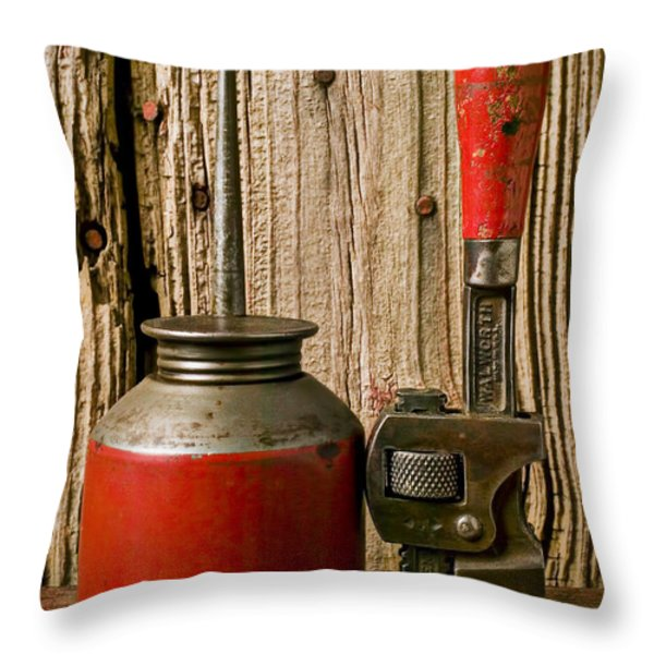 Old Oil Can And Wrench Throw Pillow by Garry Gay