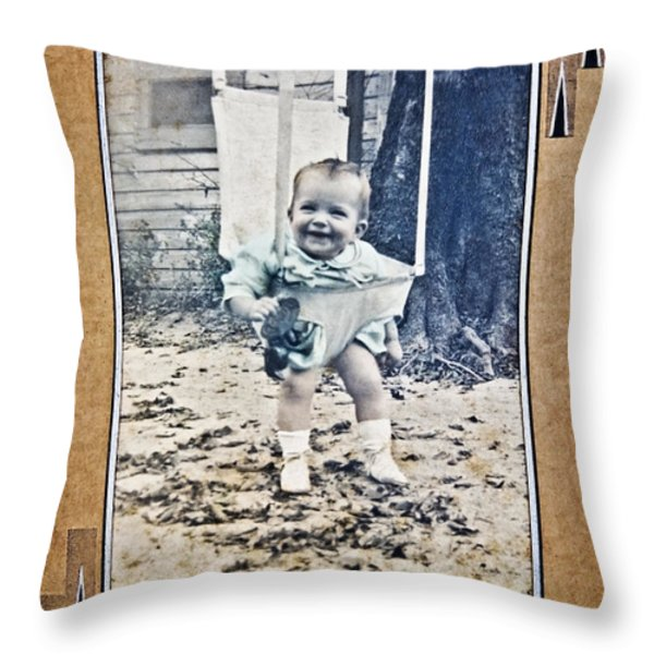 Old Photo Of A Baby Outside Throw Pillow by Susan Leggett