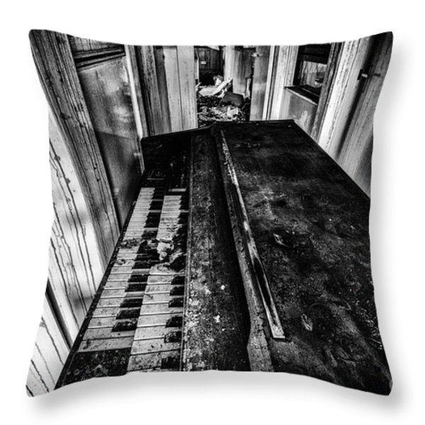 Old Piano Organ Throw Pillow by John Farnan