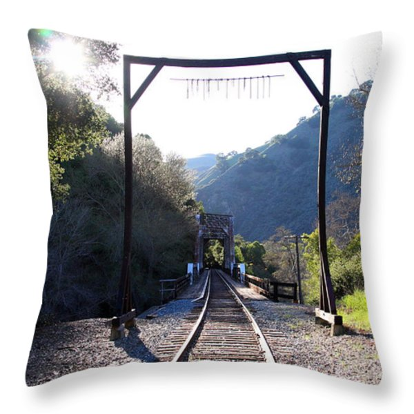Old Railroad Bridge At Near Historic Niles District In California . 7d12747 Throw Pillow by Wingsdomain Art and Photography