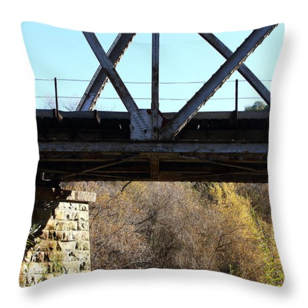 Old Railroad Bridge At Union City Limits Near Historic Niles District In California . 7d10743 Throw Pillow by Wingsdomain Art and Photography
