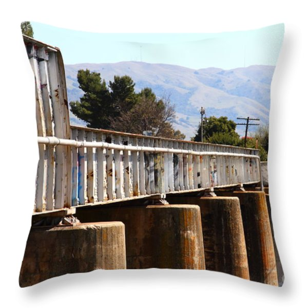 Old Railroad Bridge In Fremont California Near Historic Niles District In California . 7d12669 Throw Pillow by Wingsdomain Art and Photography