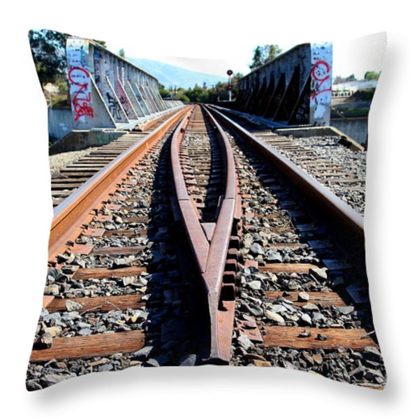 Old Railroad Bridge In Fremont California Near Historic Niles District In California . 7d12678 Throw Pillow by Wingsdomain Art and Photography