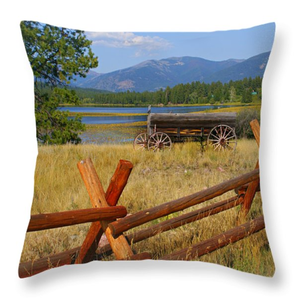 Old Ranch Wagon Throw Pillow by Marty Koch