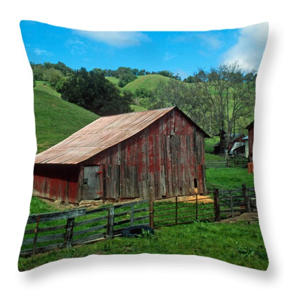 Old Red Barn Throw Pillow by Kathy Yates