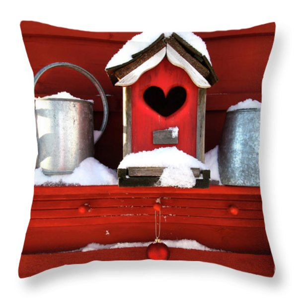 Old Red Birdhouse Throw Pillow by Sandra Cunningham