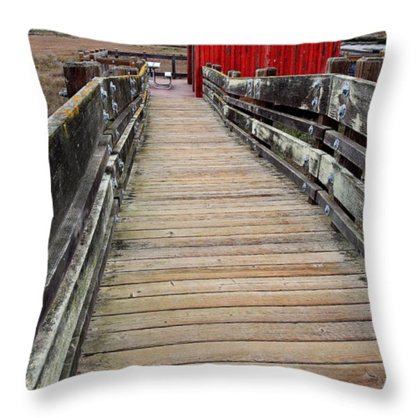 Old Red Shack At The End of The Walkway Throw Pillow by Wingsdomain Art and Photography