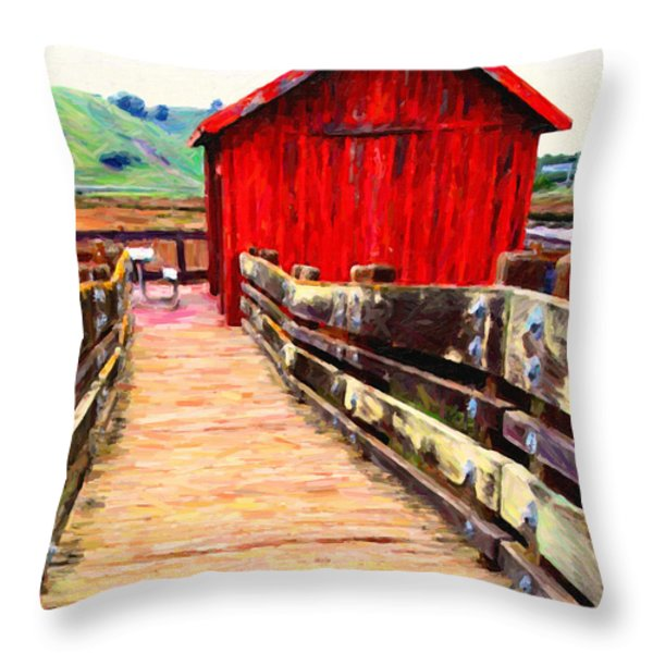 Old Red Shack Throw Pillow by Wingsdomain Art and Photography