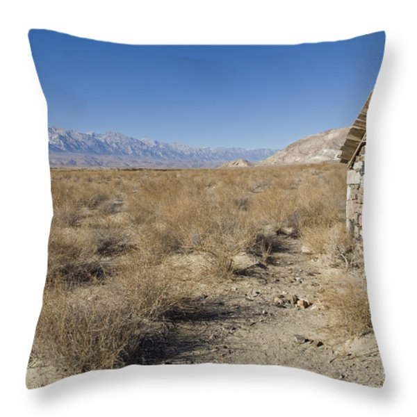 Old Rock Cabin At Dolomite Throw Pillow by Rich Reid