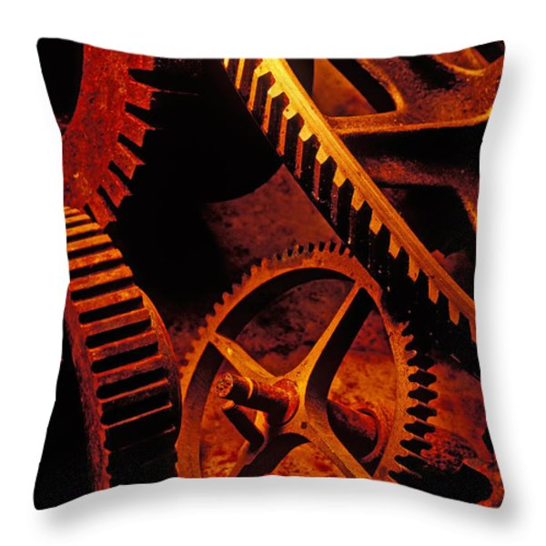 Old Rusty Gears Throw Pillow by Garry Gay