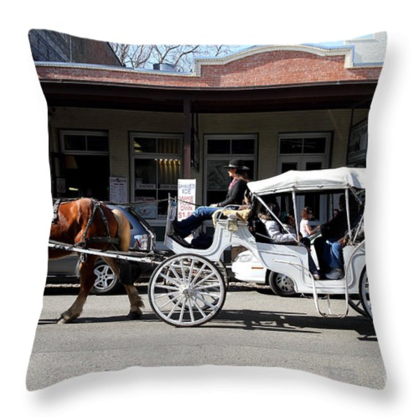 Old Sacramento California . Horse Drawn Buggy . 7D11482 Throw Pillow by Wingsdomain Art and Photography