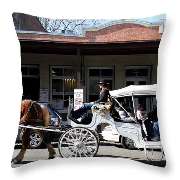 Old Sacramento California . Horse Drawn Buggy . Long Cut . 7D11482 Throw Pillow by Wingsdomain Art and Photography