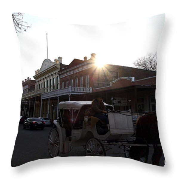 Old Sacramento California In Partial Silhouette . 7D11719 Throw Pillow by Wingsdomain Art and Photography