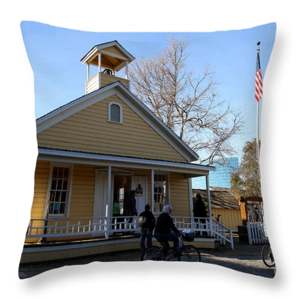 Old Sacramento California . Schoolhouse Museum . 7D11578 Throw Pillow by Wingsdomain Art and Photography