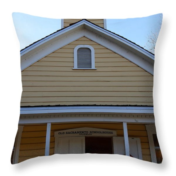 Old Sacramento California . Schoolhouse Museum . 7D11579 Throw Pillow by Wingsdomain Art and Photography
