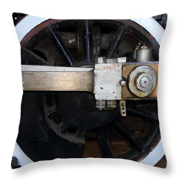 Old Steam Locomotive Engine 5 . The Little Buttercup . Train Wheel . 7d12916 Throw Pillow by Wingsdomain Art and Photography